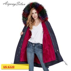 AiyangSilan Women Warm Real Fur Coat Hooded Detachable Natural Rex Rabbit Fur Liner Parka Long Design for Ladies Girls Fur Coats