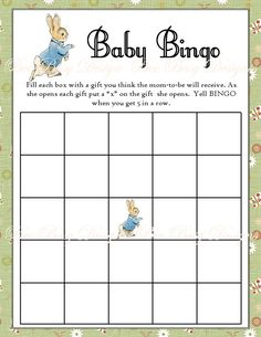 Printable Peter Rabbit Baby Shower Bingo Game INSTANT by beebusy13, $5.00