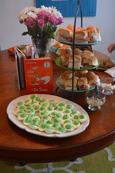 Book Themed Baby Shower. Green Eggs and Ham with deviled eggs and ham sliders