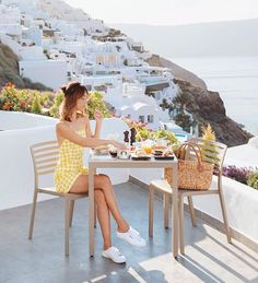 Breakfast with a view, wearing Santorini-perfect slip-ons (one of my favourite Supergas yet! Thank you so much to… Andrea Chong, Oia Santorini, Boudoir Photos, Thank You So Much, Personal Photo, Historical Photos, Greece, Slip On, Style Inspiration