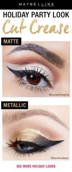 The perfect glam holiday party makeup look is a cut crease eyeshadow look.  Make it natural with an all matte cut crease look or make it bold with a metallic cut crease.  Click through to see more eyeshadow looks.