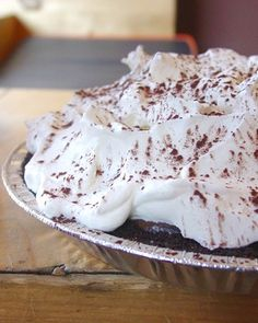 Savor the classic taste of chocolate malt Ovaltine in this diner-style favorite. A touch of whiskey and both milk and dark chocolates add a deep fudgy flavor to this no-bake pie.