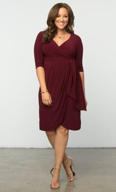 Check out the deal on Harlow Faux Wrap Dress at Kiyonna Clothing