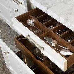 O'Brien Harris - kitchens - cutlers drawers, built-in cutlery drawers, utensils drawers, built-in utensils drawers, cutlery storage, utensils storage, kitchen island cutlery drawers, island cutlery drawers, kitchen island utensils drawers, island utensils drawers, pull-out drawers, kitchen island drawers, pots and pans drawers, kitchen island storage,