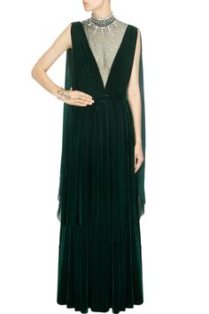 Pernia Qureshi | Forest green crystal stone embellished sheer drape gown available only at Pernia's Pop-Up Shop.