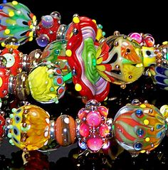 PMG Handmade Lampwork Bright Tropical Colors Double Helix Glass Beads SRA | eBay