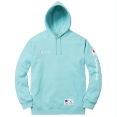Supreme x Champion New York Box Logo Aqua Blue Pullover Hoodie Size L Bogo Cute Comfy Outfits, Hipster Outfits, Comfortable Outfits, Sport Outfits, Hipster Style, Blue Shoes Outfit, Calvin Klein Outfits, Champion Clothing, Trendy Hoodies