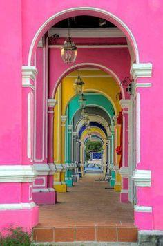Rainbow archways.