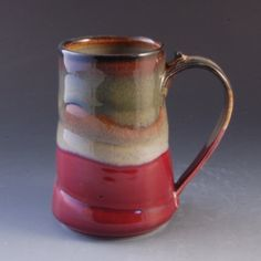 Pottery Mug Handmade Large Red Brown porcelain by by MarksPottery