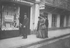 This is an unusual photo of Grand Duchesses Olga and Maria shopping with the Tsar and Anna Vyrubova, Germany 1910.