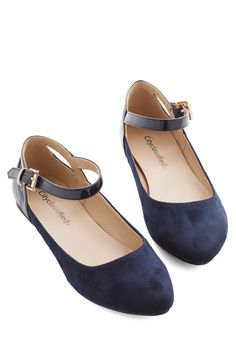 Ready to Impress Flat in Navy. Ensure that youre dressed to impress from head to toe by buckling these navy flats underneath your floral sheath! #blue #modcloth