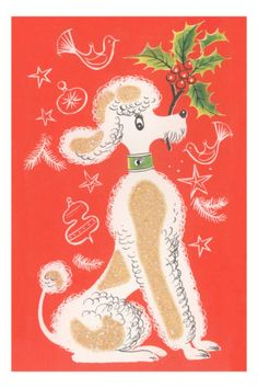 Cartoon Poodle with Holly Sprig Print at AllPosters.com
