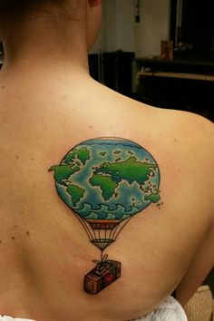 hot air balloon tattoo globe