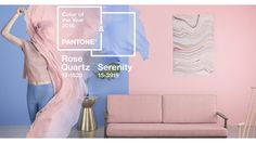 It's actually a blend of two colors, specifically Rose Quartz (PANTONE a light pink and Serenity (PANTONE a light blue. Pantone is the worldwide standard for matching colors via their numbered color system. Color Trends, Design Trends, App Design, Design Ideas, Mode Rose, Rose Quartz Serenity, Serenity Color, House Of Turquoise, Color Of The Year