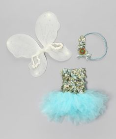Kissed with sparkles and blossoming with fairy flowers, this enchanting set casts a magical glow. Boasting an easy-on fit on the dress, satin-strapped wings, tons of tulle and elegant embellishments, these pretty pieces offer a whimsical wardrobe addition.