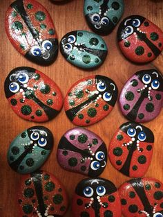 All proceeds from the sale of these rocks will be donated to the Myotonic Dystrophy Foundation. Can be personalized with name(s), date, and message. Please indicate number of ladybugs. Hand Painted Rocks, Painted Stones, Gnome Paint, Paint Chip Art, Pet Remembrance, Mandala Rocks, Rock Painting Designs, Rock Design, Stone Painting
