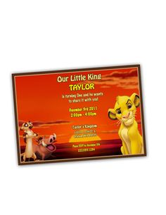 Sunset Lion King Birthday Party Invitation