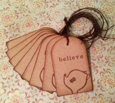 Sweet Deer Believe set of 8 gift tags by enchantedscraps on Etsy, $4.00
