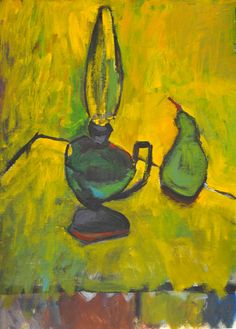 Still Life with Lamp and Pear . In Yellow.