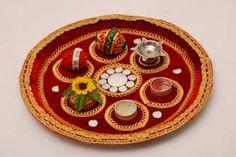 Kalash Decoration, Thali Decoration Ideas, Diwali Decorations, Festival Decorations, Wedding Decorations, Wedding Gift Wrapping, Wedding Gifts, Janmashtami Decoration, Ganapati Decoration