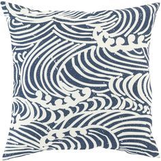 Tidal waves motif pillow in navy and beige. From Surya. (MZ-008)