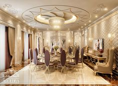 Villa Dining Room Design Photos by Algedra Interior Team Interior Design Dubai, Commercial Interior Design, Luxury Homes Interior, Commercial Interiors, Hall Room Design, Dining Room Design, Luxury Dining Room, Luxurious Bedrooms, Ceiling Design