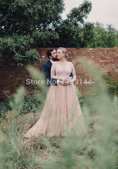 Pink Long Sleeves Wedding Dresses Plus Size 2015 Deep V Neck A Line Tulle Appliques Beads Bride Gowns Vestidos De Casamento-in Wedding Dresses from Apparel & Accessories on Aliexpress.com | Alibaba Group