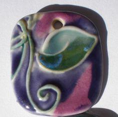 Porcelain Leaf Pendant - Clayworks by Lisa Boucher.