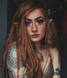 f Half Elf Druid Necklace portrait tattoo's Night stars female cosplay med Elfa, Elf Makeup, Costume Makeup, Makeup Ideas, Zombie Makeup, Scary Makeup, Makeup Tutorials, Face Makeup, Halloween Makeup Looks