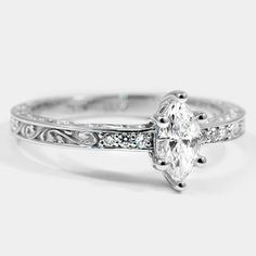 18K White Gold Delicate Antique Scroll Ring // Set with a 0.37 Carat, Marquise, Very Good Cut, D Color, SI2 Clarity Diamond #BrilliantEarth