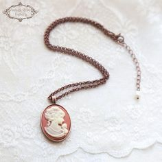 Cameo Necklace , Charm Necklace , Victorian Necklace , Gift for Mom, Vintage Style Necklace, Gift for Grandma, by VintageRoseGallery. I love so much Cameos..... I have a very old ring from my grand grand .....mother and I would like so much to make one... I did it because I found a