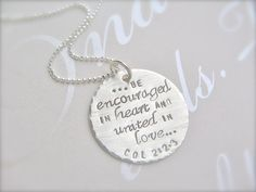 Hand Stamped Christian Jewelry - Personalized Faith Necklace - Custom Scripture Jewelry