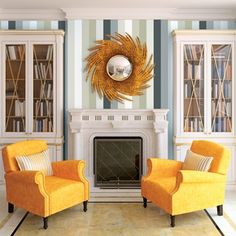 Living-room interior with two armchairs near the fireplace. Living Room Interior, Living Room Furniture, Living Room Decor, Living Rooms, Furniture Decor, Furniture Design, Mesa Saarinen, Grey Removable Wallpaper, Temporary Wallpaper