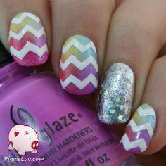 PiggieLuv: Colorful chevron twin nails