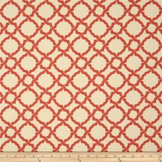 Waverly Kent Crossing Coral from @fabricdotcom  Screen printed on cotton duck; this versatile medium weight fabric is perfect for window treatments (draperies, valances, curtains and swags), accent pillows, duvet covers and upholstery. Colors include orange and cream. This fabric has 45,000 double rubs.