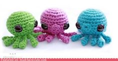 Nyaha, these octopus amigurumi are...SO CUTE!!!  (It's the eyes, the eyes! >__<)