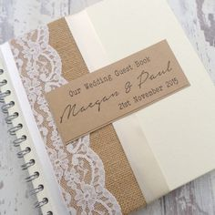 Handmade and Personalised Hessian and Lace Rustic Wedding Guest book