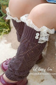 Lil Lacey Lou  Graphite Girls openknit by GraceandLaceCo, $21.00