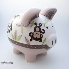Jungle Jill Personalized Safari Piggy Bank in Pink and Green with Zebra, Giraffe, Elephant and Monkey The Little Couple, Personalized Piggy Bank, Jungle Theme, Porcelain Ceramics, Nursery Art, Green And Grey, Baby Shower Gifts, Just For You, Hand Painted
