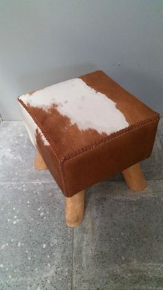 Cowhide Stool Hand Made Square Pouffe Short Hair Chair Seat Brown White C White C, Outdoor Chairs, Home Furniture, Short Hair Styles, Stool, Brown, Handmade, Home Decor, Armchairs
