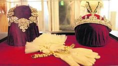 The crown, jewelry and gloves Empress Elisabeth wore on the day she became queen of Hungary.