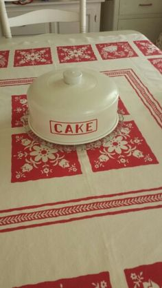 vintage table cloth and cake cover in red and cream, vintage kitchen