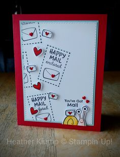Stampinup, Happy Mail, Card Tags, Valentine Day Cards, Creative Cards, Homemade Cards, Stampin Up Cards, Note Cards, Making Ideas