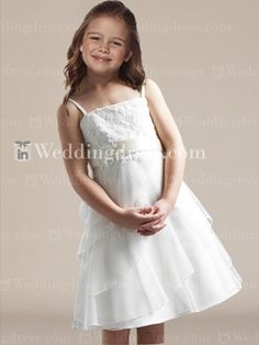 Tea length dress with spiral ruffled skirt and lace appliqué all over bodice.