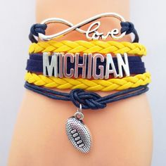 Infinity Love Michigan Football - Show off your teams colors! Cutest Love Michigan Bracelet on the Planet! Don't miss our Special Sales Event going on now. Many teams available.