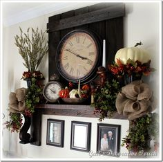 Fall mantel shelf - love it! Decorate a nice shelf in place of a mantel if you don't have a fireplace to get the same effect Living Room Mantle, Dining Room, Mantel Shelf, Autumn Home, Autumn Fall, Living Room Designs, Diy Home Decor, Tablescapes, Sweet Home