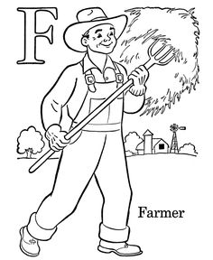Kids ABC Coloring Pages | Letter F - Free printable farm Alphabet coloring pages for PreK Kids | HonkingDonkey