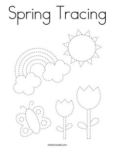 Spring Tracing Coloring Page - Twisty Noodle Preschool Writing, Preschool Curriculum, Free Preschool, Preschool Classroom, Preschool Learning, Kindergarten Worksheets, Preschool Activities, Teaching, Learning English For Kids
