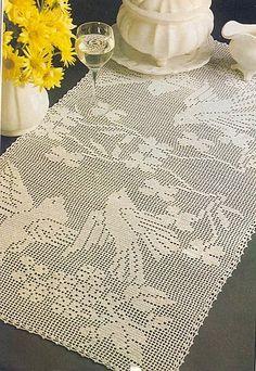 Birds crochet filet work with diagram