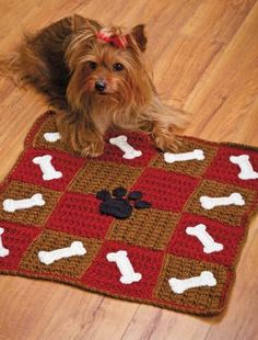 W459 Crochet PATTERN ONLY Checkerboard Cat and Dog Pet Mats Patterns